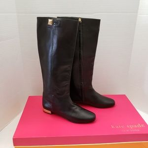 Tall Kate Spade Napa Black Leather OLIVER Gold 7.5